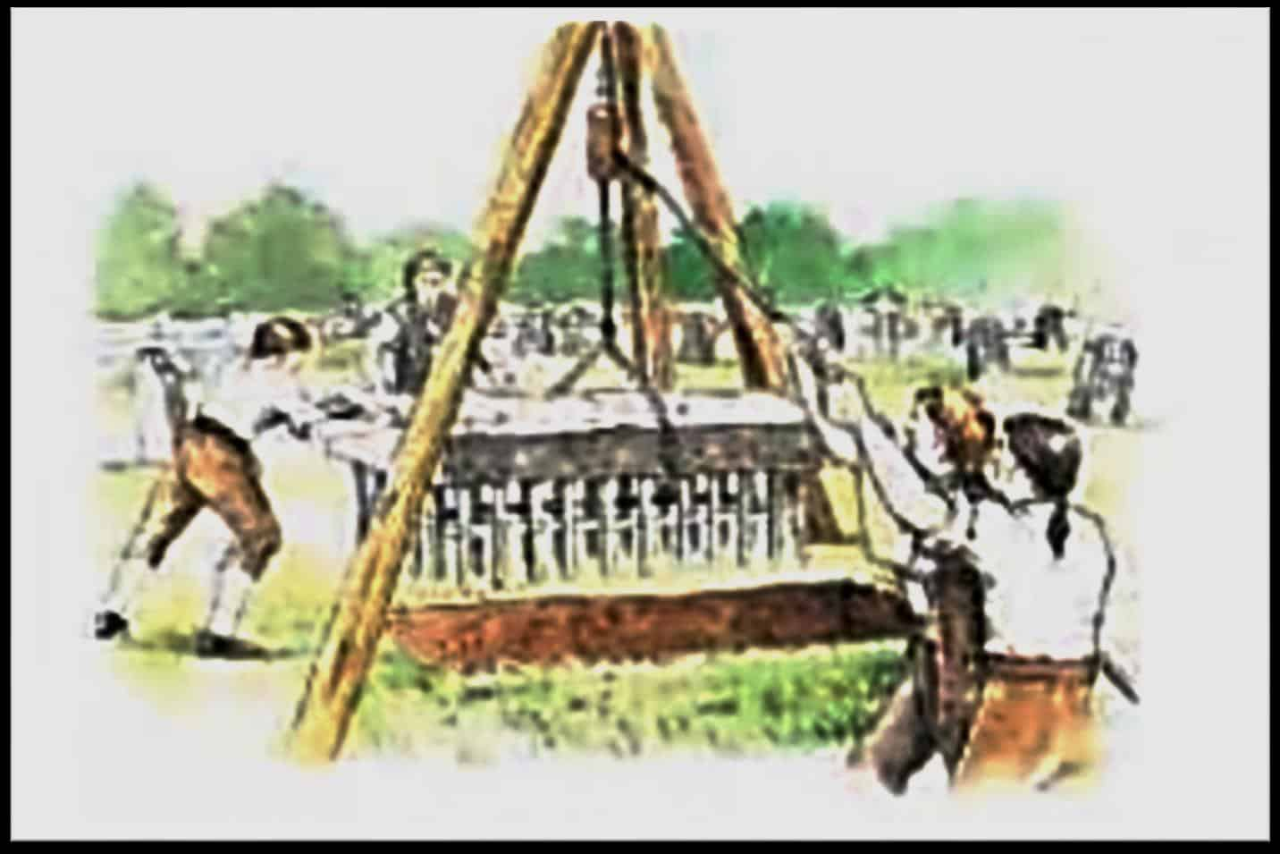 Drawing or lifting tackle used to move mortstones and mortsafes into position. Source Unknown