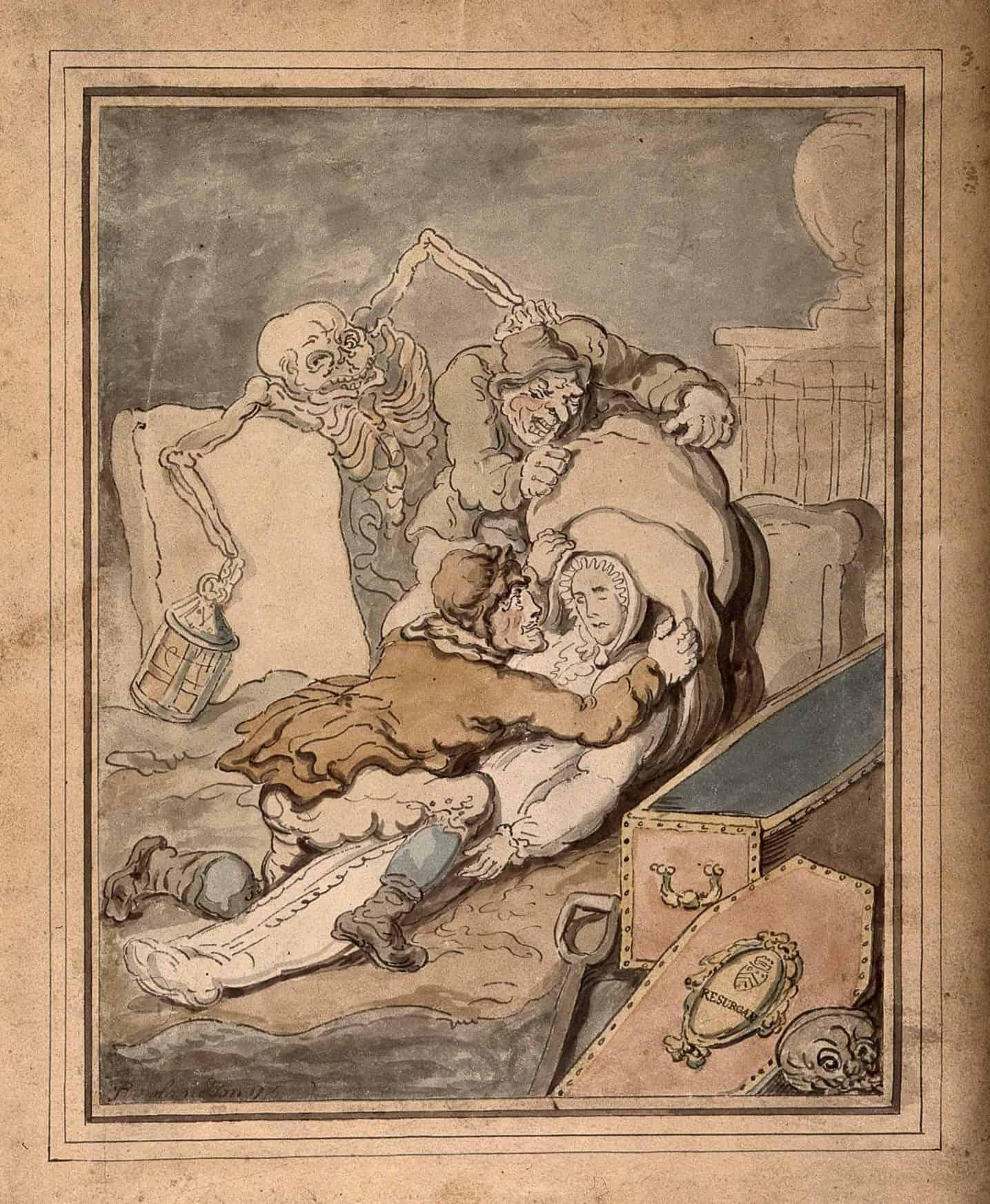 T. Rowlandson Resurrection Men 1775 via Wellcome Library Diggingup1800