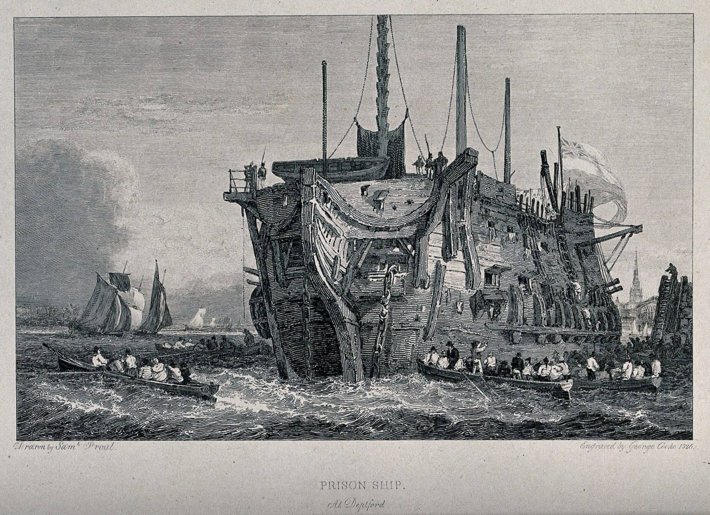 A small rowing boat is taking people to a prison ship. Engraving by George Cooke after Samuel Prout.. Credit: Wellcome Collection.