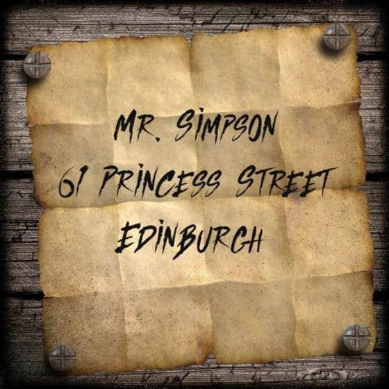 Mock Up of Vintage Address Label to Mr Simpson
