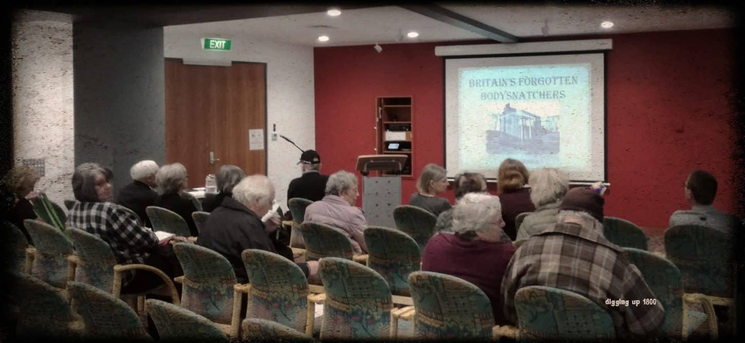 The room starting to fill up in preparation for a body snatching talk at Auckland Central Library, New Zealand