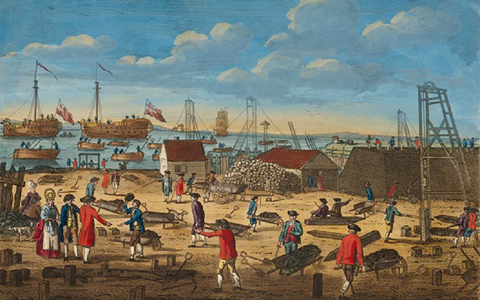 View Near Woolwich in Kent, Shewing the Employment of the Convicts from the Hulks via National Library of Australia