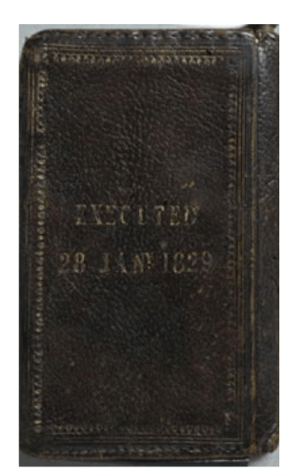 Back cover of notebook made from William Burke's skin. Held at Surgeons' Hall Museum, Edinburgh