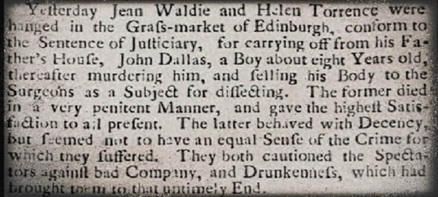 The Hanging of Jean Waldie and Helen Torrence in Edinburgh's Grassmarket March 1752