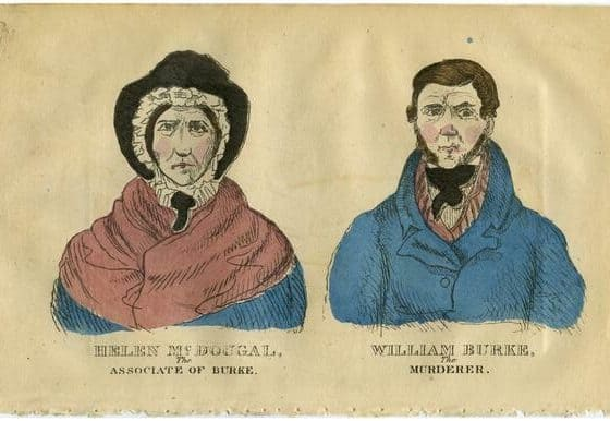 Hand colored engraving of Helen McDougal and William Burke via New York Acadamy of Medicine