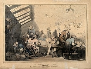 Three anatomical dissections taking place in an attic Coloured lithograph by T C Wilson after a pen and wash drawing by T Rowlandson.