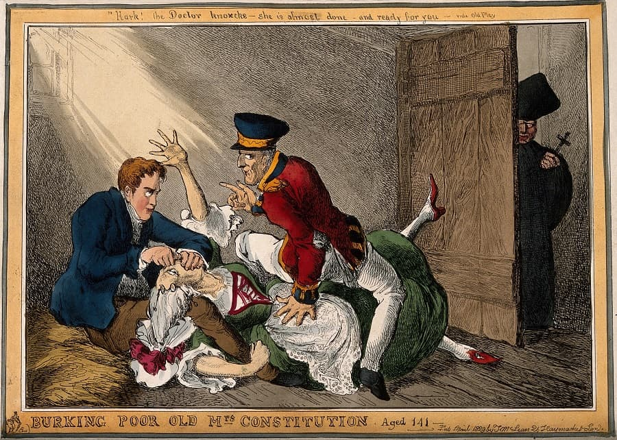Wellington and Peel in the roles of the body-snatchers Burke and Hare suffocating Mrs Docherty for sale to Dr. Knox; representing the extinguishing by Wellington and Peel of the Constitution of 1688 by Catholic Emancipation. Coloured etching by W. Heath, 1829 via Wellcome Collection