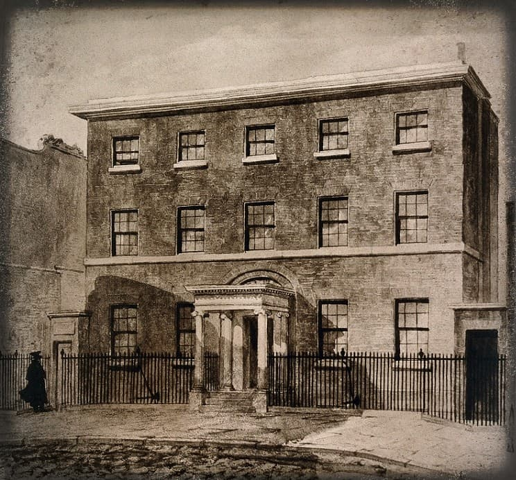 William Hunter: his home and anatomy school in 16 Great Windmill Street, London, England. Photograph by Grove Son and  Boulton after a watercolour. Via Wellcome Collection
