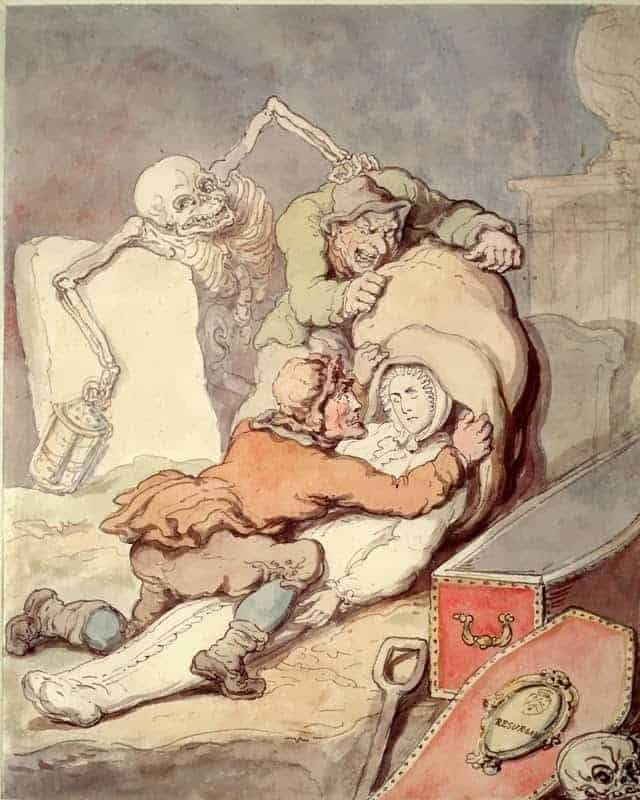 Two men placing the shrouded corpse which they have just disinterred into a sack while Death, as a nightwatchman holding a lantern, grabs one of the grave-robbers from behind. Coloured drawing by T. Rowlandson, 1775.