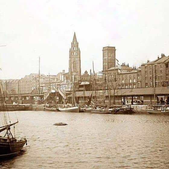 Postcard view north over George's Dock, 1897 The Liverpool Overhead Railway runs across the centre of the image, with St Nicholas church to the rea