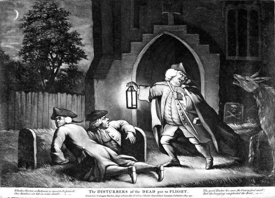 Bodysnatchers in a church cemetery disturbed by the braying of an ass. Mezzotint, 1771 via Wellcome Collection