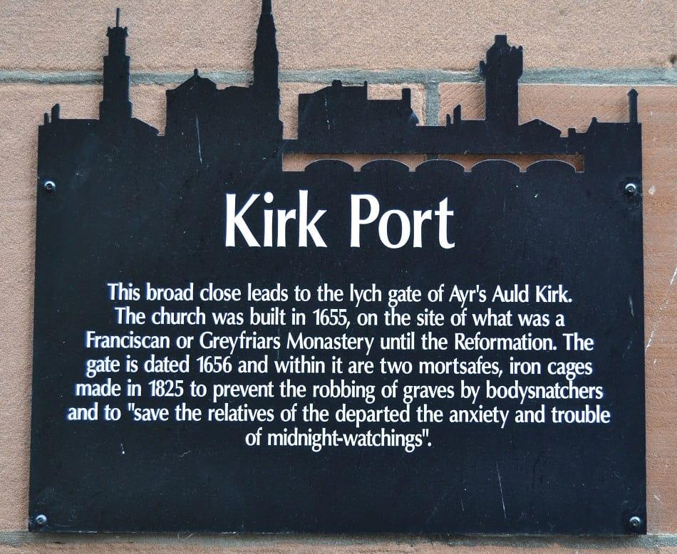 Kirk Port Sign Auld Kirk Ayr
