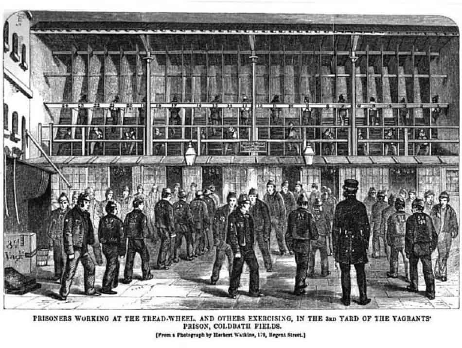Prisoners Working At The Treadwheel At Coldbath Fields Prison henry Mayhew Criminal Prisons of London & Scenes of London Life