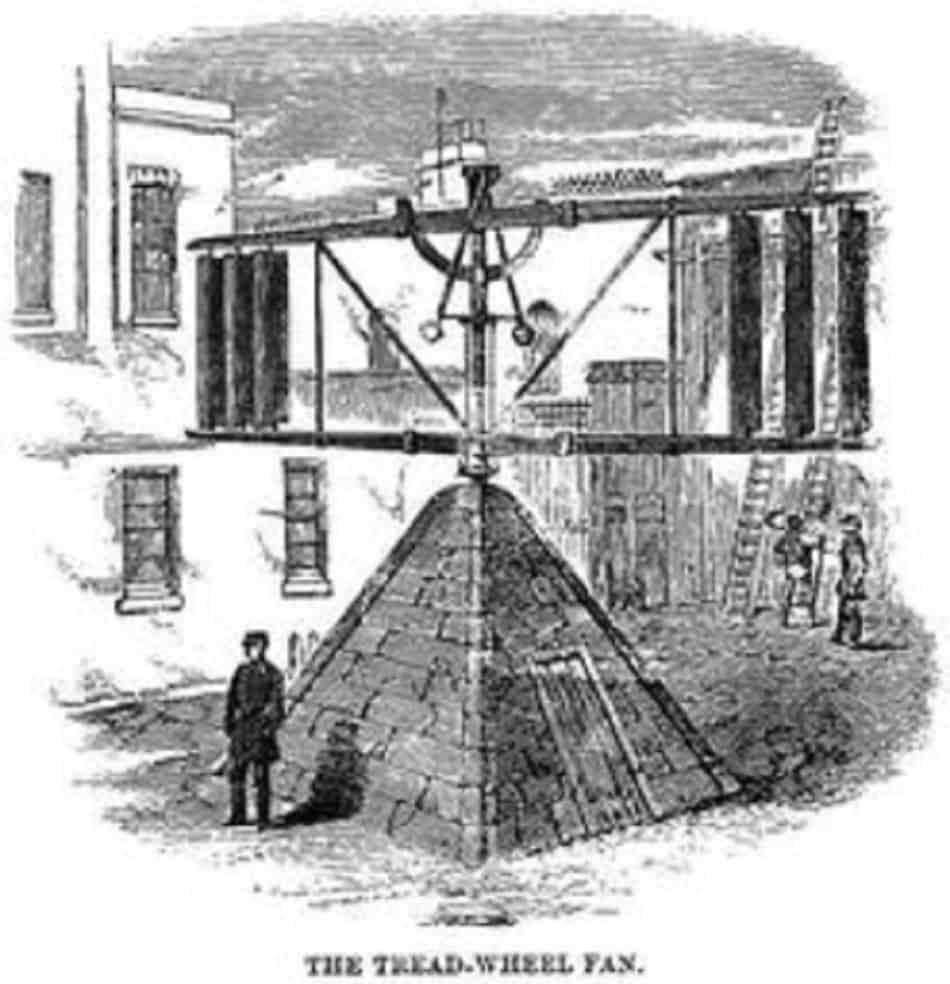 Treadwheel fan at Coldbath Fields from Henry Mayhew Criminal Prisons of London