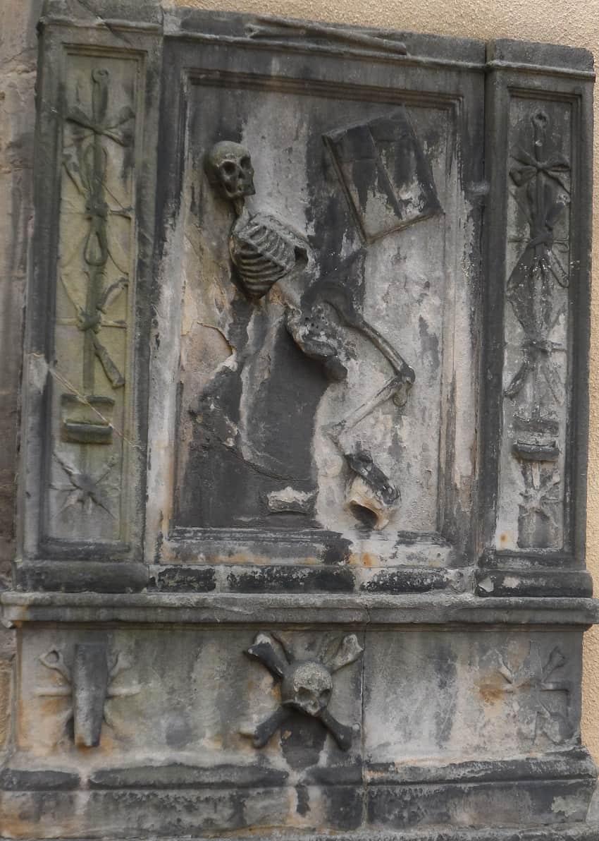 The tombstone of James Borthwick Edinbrugh Surgeon who died 1677 and is in Edinburgh Greyfriars Kirkyard