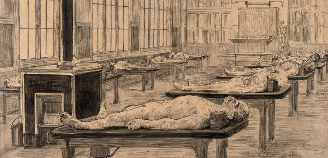 Interior of a dissecting room with cadavers laid out on tables. Drawing by Paul Ronard, late 19th - early 20th c via Wellcome Library