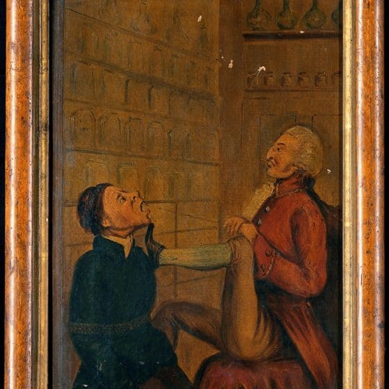 A surgeon-apothecary pulling out a man's tooth via Wellcome Library